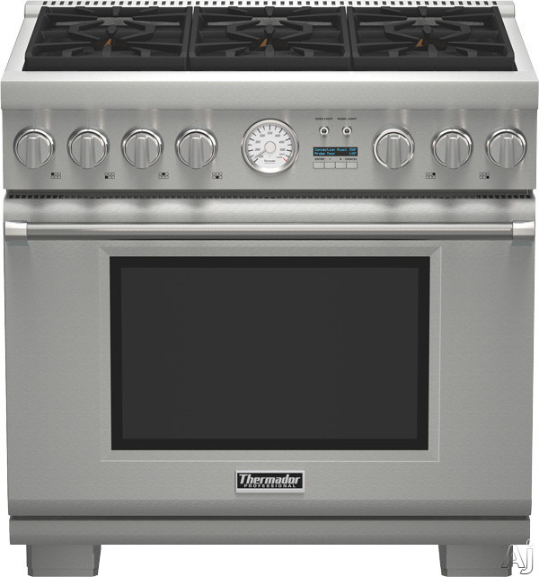 Thermador Pro Grand Professional Series PRD366JGU 36 Inch Pro-Style Dual-Fuel Range with 6 Sealed Star Burners, 5.7 cu. ft. Convection Oven, 22,000 BTU Power Burner, ExtraLow Simmer Burners, Telescopi