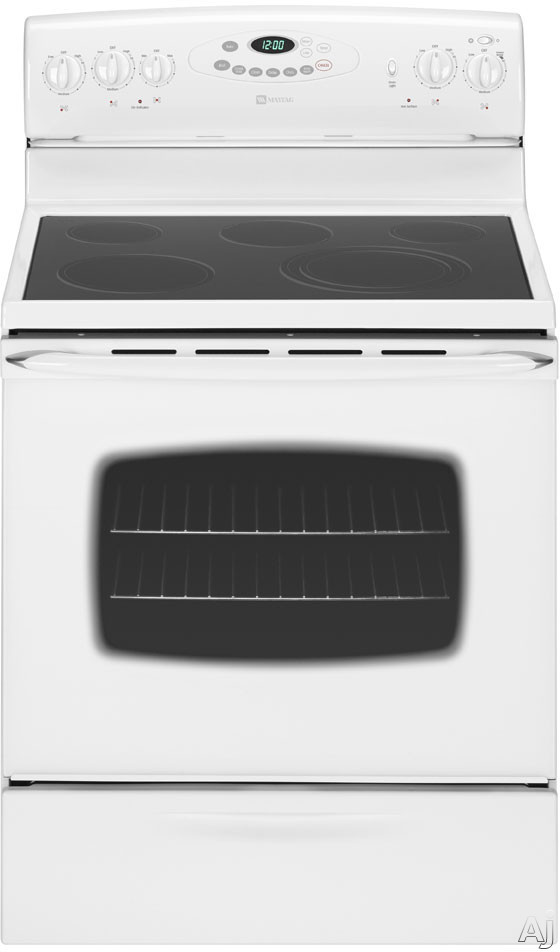"Maytag MER5765RAW 30"" Freestanding Smoothtop Electric Range With 5 Radiant Elements 5.3 Cu Ft Capacity 6-Pass Broil Element Storage Drawer And Automatic Ov"