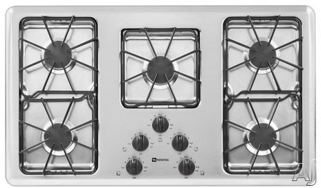 "Maytag MGC4436BDC 36"" Gas Cooktop With 5 Sealed Burners Power Boost Burner Pilotless Electronic Ignition And Frameless Design Chrome"