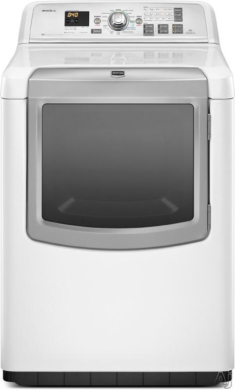 """Maytag Bravos Series MGDB950YW 29"""" Gas Steam Dryer with 7.3 cu. ft. Capacity, 14 Dry Cycles, U.S. & Canada MGDB950YW"""