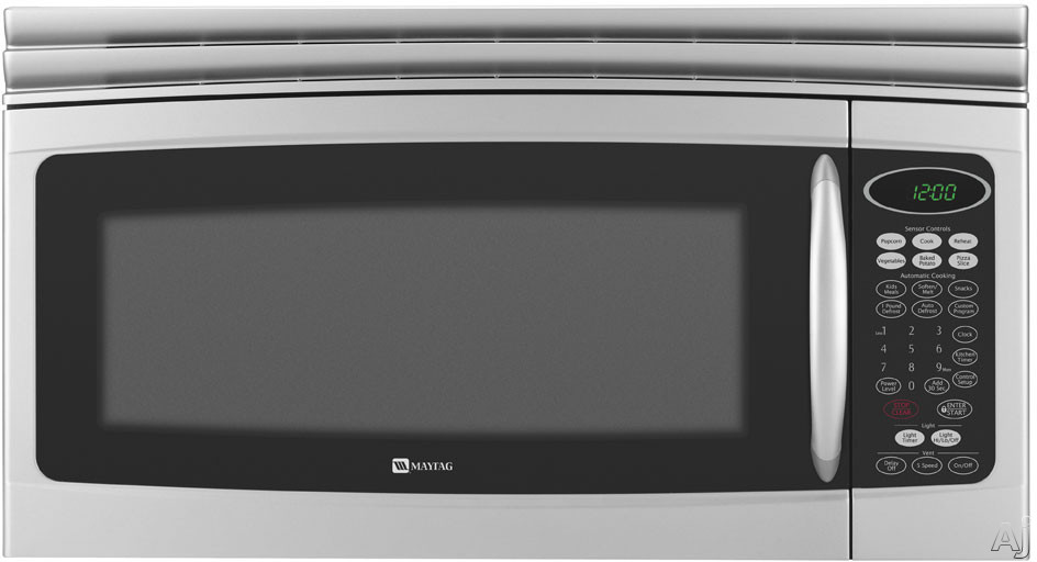 Maytag MMV5207BAS 2.0 Cu Ft Over-the-Range Microwave With 1,100 Cooking Watts 10 Power Levels Sensor Cooking/Reheat Halogen Light 300 CFM Ventilation And