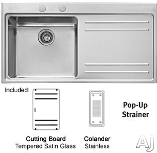 Franke Sink With Drainboard : ... Sink Kit with 18-Gauge Steel, Drain Board, Cutting Board and Colander