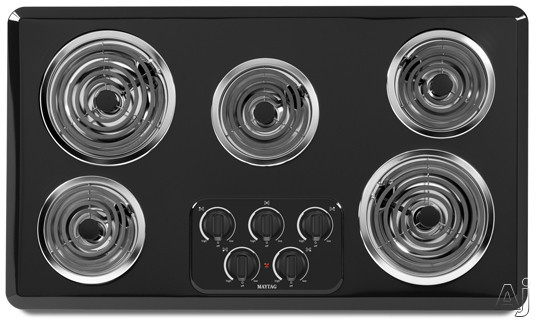 """Maytag MEC4536WB 36"""" Electric Cooktop with 5 Heavy-Duty Coil Elements, Porcelain Surface, No-Drip, U.S. & Canada MEC4536WB"""
