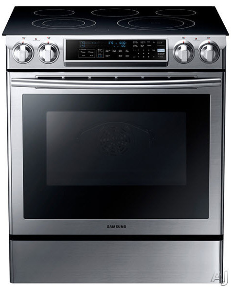 "Samsung NE58F9500SS 30"" Slide-In Electric Range with 5 Radiant Elements, 5.8 cu. ft. Oven Capacity, U.S. & Canada NE58F9500SS"