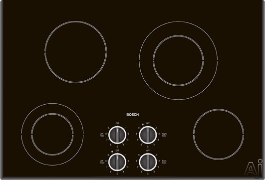 """Bosch Electric Cooktop - Bosch 400 Series NEM7462UC 30"""" Smoothtop Electric Cooktop With 6 Cooking Zones Mechanical Controls & Beveled Edges Black"""