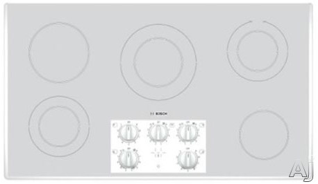"""Bosch Electric Cooktop - Bosch 400 Series NEM9422UC 36"""" Smoothtop Electric Cooktop With 8 Cooking Zones Mechanical Controls & Beveled Edges White"""