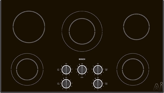 """Bosch Electric Cooktop - Bosch 400 Series NEM94 36"""" Smoothtop Electric Cooktop With 8 Cooking Zones Mechanical Controls & Beveled Edges"""