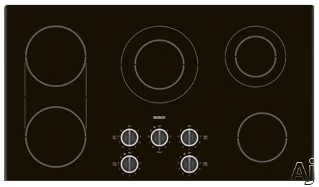 """Bosch Electric Cooktop - Bosch 500 Series NEM9552UC 36"""" Smoothtop Electric Cooktop With Bridge Element Mechanical Controls & Stainless Steel Trim"""