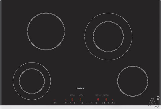 """Bosch Electric Cooktop - Bosch 400 Series NET7452UC 30"""" Smoothtop Electric Cooktop With 6 Cooking Zones Touch Controls & Stainless Steel Trim"""