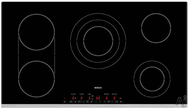 """Bosch Electric Cooktop - Bosch 600 Series NET9652UC 36"""" Smoothtop Electric Cooktop With Bridge Element Triple Element Touch Controls & Stainless Steel Trim"""