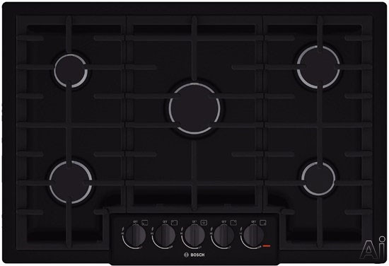 Bosch 800 Series NGM8065UC 31 Inch Gas Cooktop with Continuous Grates, LED Light Indicator, Heavy-Duty Knobs, 5 Sealed Burners and 47,200 Total BTU: Black