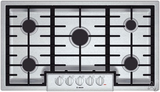 Bosch 800 Series NGM8655 37 Inch Gas Cooktop with Automatic Re-Ignition, Continuous Grates, Centralized Controls, LP Convertible, 18,000 BTU Center Burner, 59,500 BTU Burners, Low-Profile Design, 5 Sealed Burners and Metal Knobs