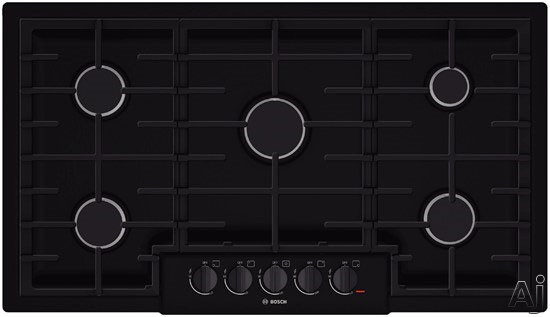 """Bosch 800 Series NGM8665UC 37"""" Gas Cooktop with 5 Sealed Burners, 18,000 BTU Burner, Cast Iron Continuous Grates, Heavy-Duty Metal Knobs, Centralized Controls and Low-Profile Design: Black"""