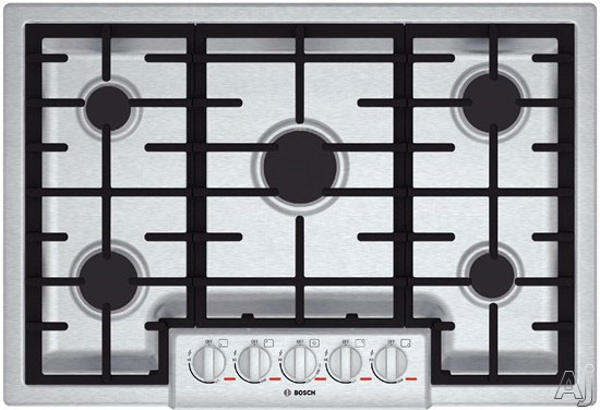 Bosch Benchmark Series NGMP055UC 31 Inch Gas Cooktop with 5 Sealed Burners, 20,000 BTU Burner, Cast Iron Continuous Grates, Heavy-Duty Metal Knobs, Centralized Controls, ADA Compliant and Low-Profile Design