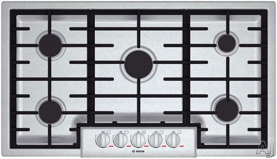 Bosch Benchmark Series NGMP655UC 37 Inch Gas Cooktop with 5 Sealed Burners, 20,000 BTU Burner, Cast Iron Continuous Grates, Heavy-Duty Metal Knobs, Centralized Controls, Low-Profile Design and ADA Compliant