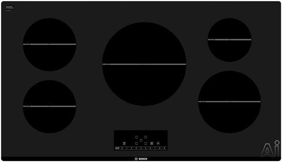 Bosch 500 Series NIT5666UC 37 Inch Induction Cooktop with 5 Cooking Zones + SpeedBoost, 3,600 Watt 11 Inch Element, Independent CountDown Timer, Residual Heat Indicator and Panel Lock