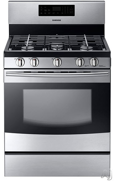 Samsung NX58F5500S 30 Inch Freestanding Gas Range with 5 Sealed Burners, 17,000 BTU High-Power Burner, 5.8 cu. ft. Oven, Griddle, Delay Bake, Sabbath Mode, Storage Drawer, Self-Cleaning Mode and Star-K Certified