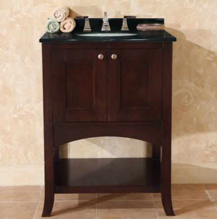 Empire Industries Open Empress Collection OE24SC Contemporary Vanity with 2 Self-Closing Doors, Satin Nickel Knobs and Spice Cherry Finish (Countertops Not Included): 24 Inch Vanity