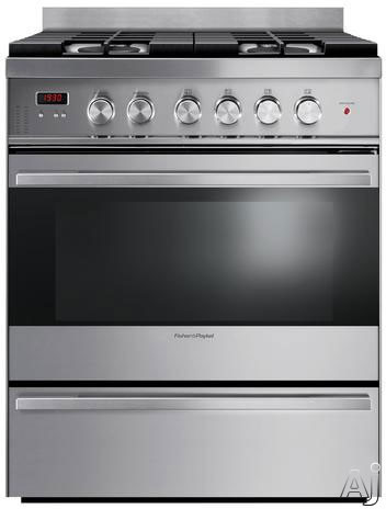 Fisher & Paykel OR30SDBMX1 30 Inch Freestanding Gas Range with Convection Dual Burners, Storage Drawer, 3.6 cu. ft. Capacity, 4 Sealed Burners, Broil, Bake and Fan Bake