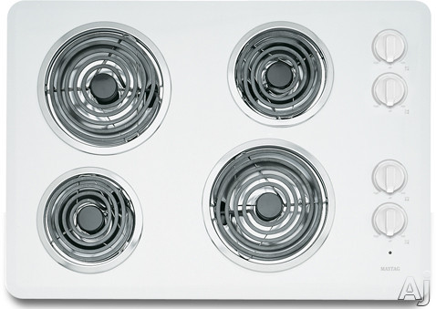 """Maytag MEC4430W 30"""" Electric Cooktop with 4 Heavy-Duty Coil Elements, Porcelain Surface, No-Drip, U.S. & Canada MEC4430W"""