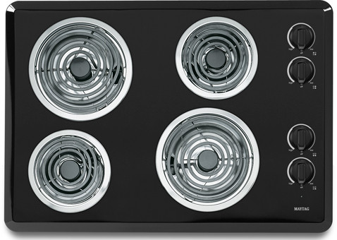 """Maytag MEC4430WB 30"""" Electric Cooktop with 4 Heavy-Duty Coil Elements, Porcelain Surface, No-Drip, U.S. & Canada MEC4430WB"""
