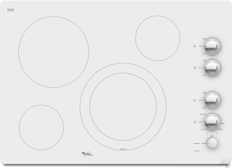 Whirlpool Gold White Ice G7CE3034XP 30 Inch Smoothtop Electric Cooktop with 4 Radiant Elements, AccuSimmer Burner, Hot Surface Indicator Lights and Dishwasher-Safe Knobs: White Ice - White with Silver