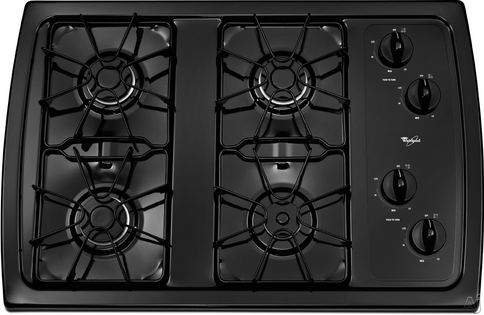 """Whirlpool W3CG3014XB 30"""" Gas Cooktop with 4 Sealed Burners, AccuSimmer Burner, Enamel Steel Grates, Knob Controls and ADA Compliant: Black"""