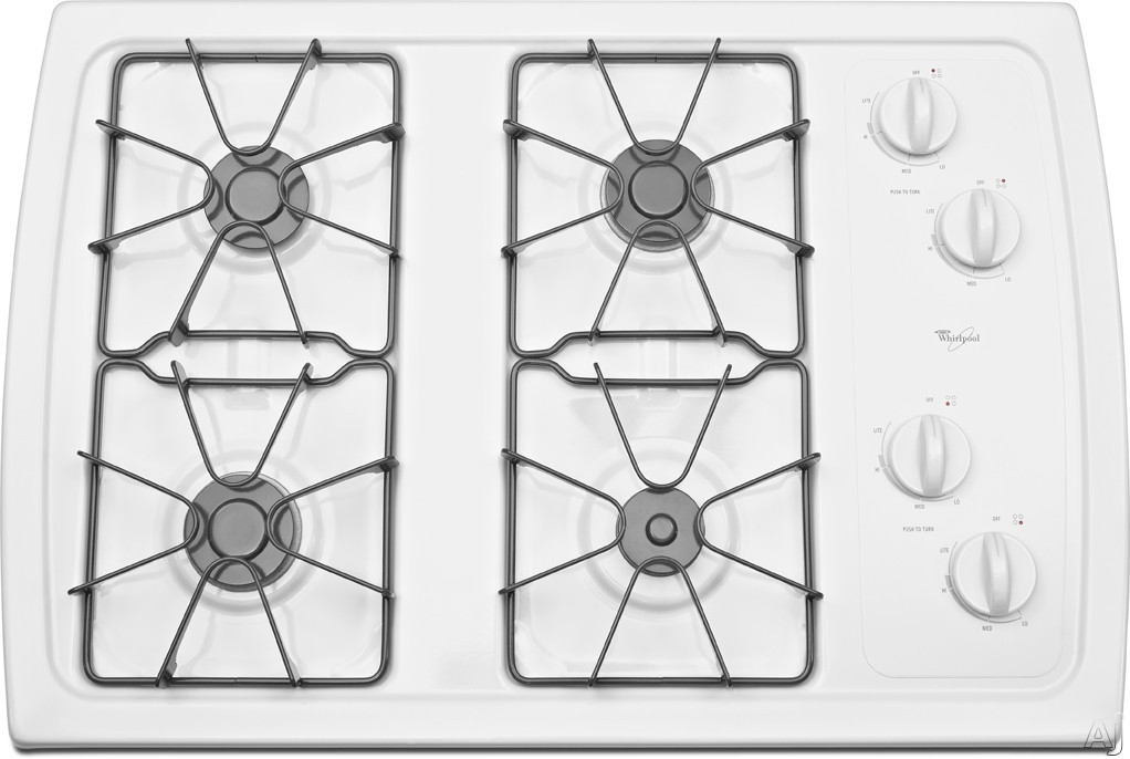 """Whirlpool W3CG3014XW 30"""" Gas Cooktop with 4 Sealed Burners, AccuSimmer Burner, Enamel Steel Grates, Knob Controls and ADA Compliant: White"""