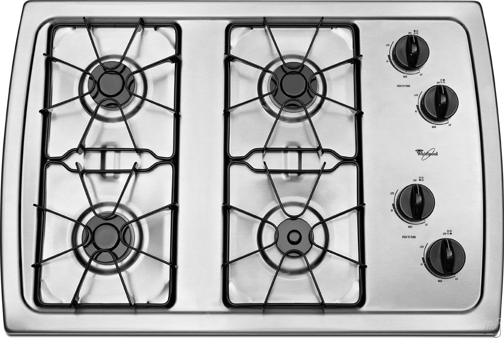 Whirlpool W3CG3014X 30 Inch Gas Cooktop with 4 Sealed Burners, AccuSimmer Burner, Enamel Steel Grates, Knob Controls and ADA Compliant