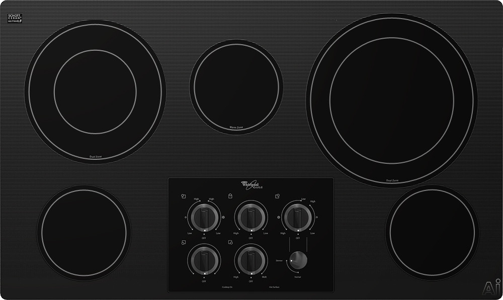 Whirlpool Gold G7CE3635XB 36 Inch Smoothtop Electric Cooktop with 5 Radiant Elements, AccuSimmer Burner, Warming Zone, Hot Surface Indicator Lights and Control Lock: Black