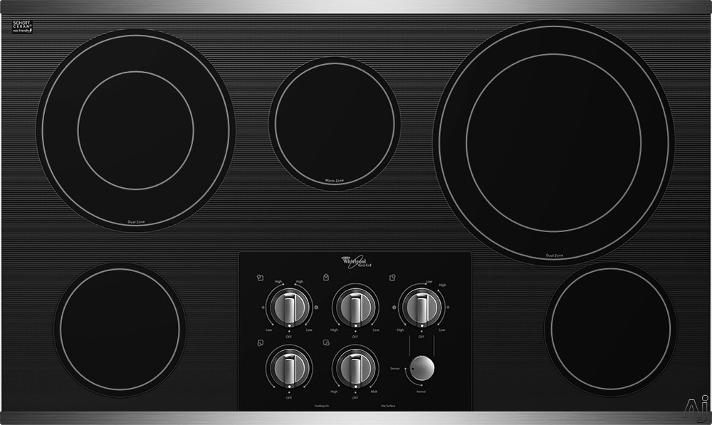 Whirlpool Gold G7CE3635X 36 Inch Smoothtop Electric Cooktop with 5 Radiant Elements, AccuSimmer Burner, Warming Zone, Hot Surface Indicator Lights and Control Lock