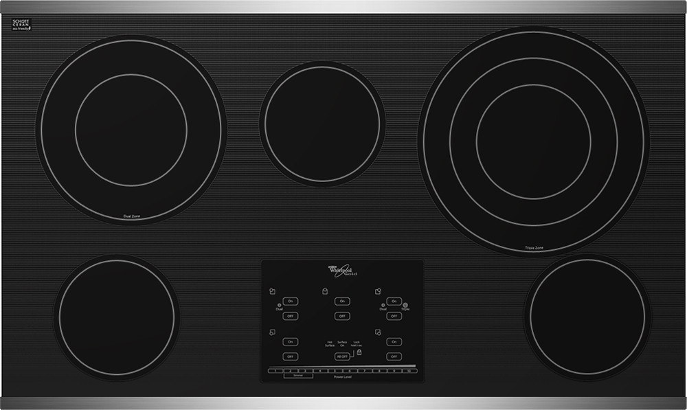 Whirlpool Gold G9CE3675X 36 Inch Smoothtop Electric Cooktop with 5 Radiant Elements, Triple Burner, AccuSimmer Plus Burners and Tap Touch Controls
