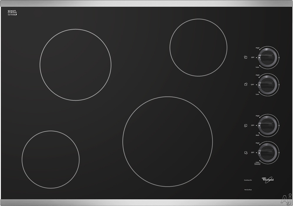 Whirlpool W5CE3024X 30 Inch Smoothtop Electric Cooktop with 4 Radiant Elements, Hot Surface Indicator Lights and Eco-Friendly Schott Ceran Glass Surface