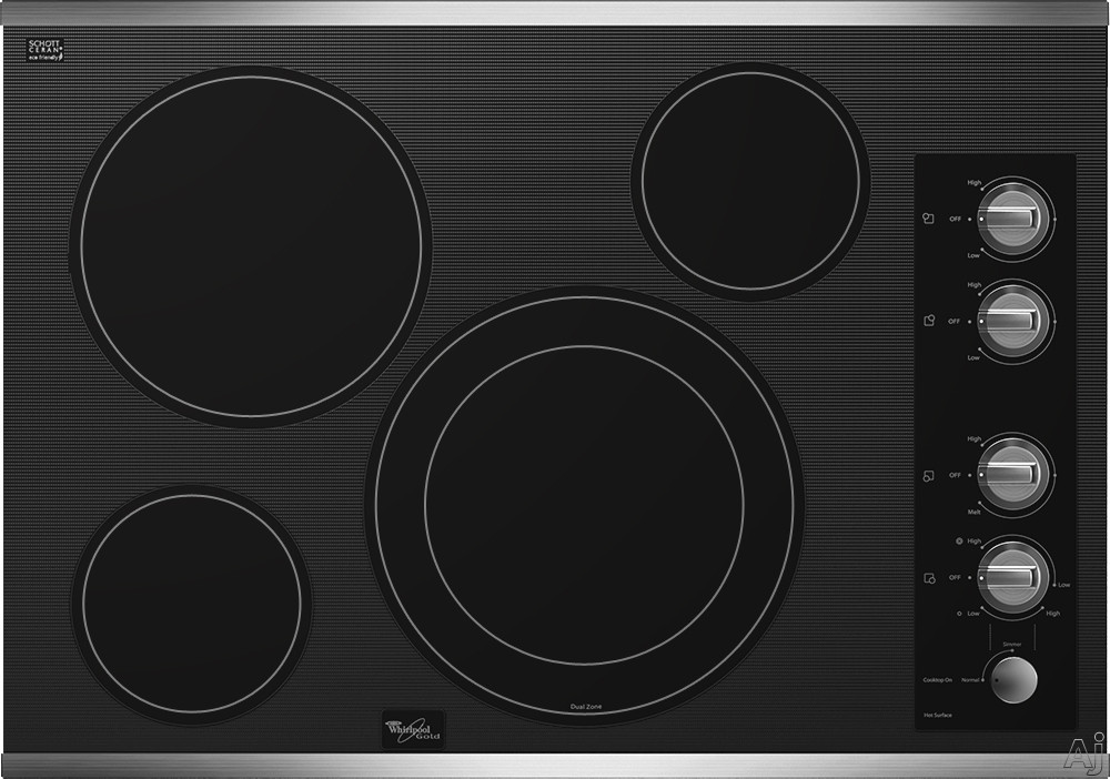 Whirlpool Gold G7CE3034X 30 Inch Smoothtop Electric Cooktop with 4 Radiant Elements, AccuSimmer Burner, Hot Surface Indicator Lights and Dishwasher-Safe Knobs