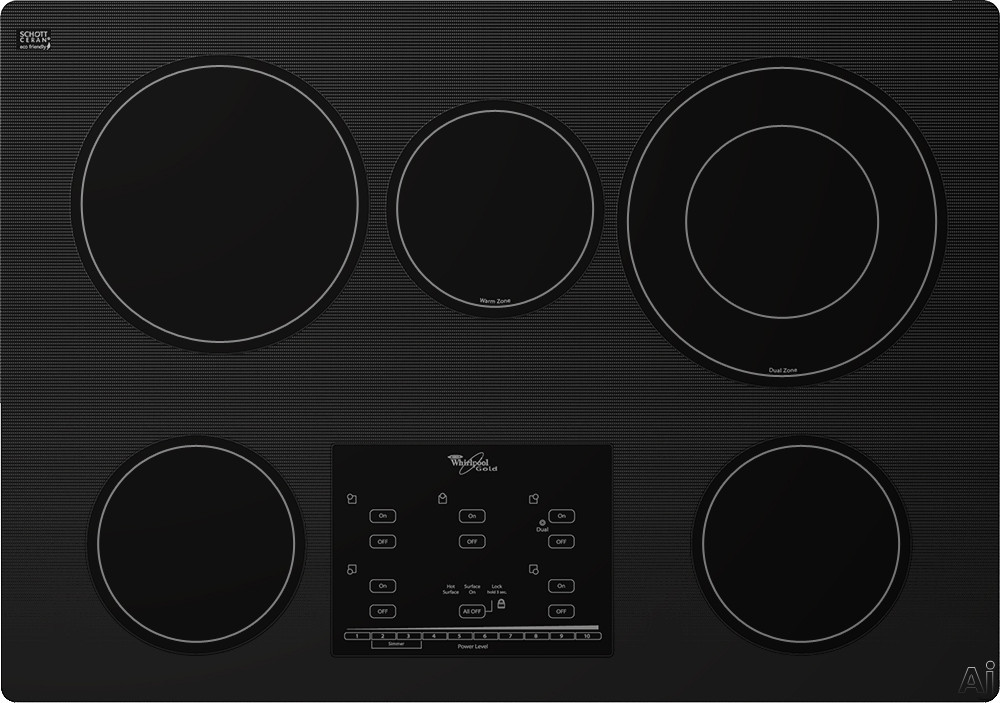 Whirlpool Gold G9CE3065XB 30 Inch Smoothtop Electric Cooktop with AccuSimmer Burners, Tap Touch Controls, Hot Surface Indicator, 5 Radiant Elements, Control Lock and Built-In Oven Compatible: Black