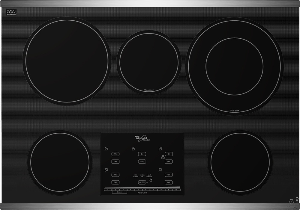 Whirlpool Gold G9CE3065X 30 Inch Smoothtop Electric Cooktop with AccuSimmer Burners, Tap Touch Controls, Hot Surface Indicator, 5 Radiant Elements, Control Lock and Built-In Oven Compatible