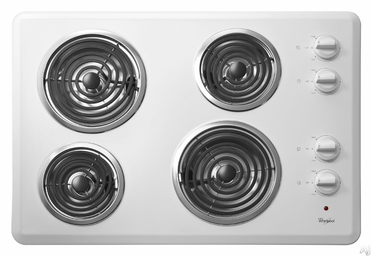 """Whirlpool WCC31430AW 30"""" Coil Electric Cooktop with 4 Coil Heating Elements, Chrome Drip Bowls and, U.S. & Canada WCC31430AW"""
