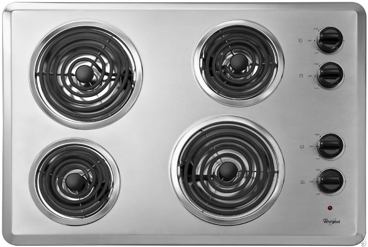 """Whirlpool WCC31430AR 30"""" Coil Electric Cooktop with 4 Coil Heating Elements, Chrome Drip Bowls and, U.S. & Canada WCC31430AR"""
