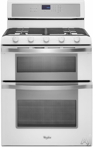 "Whirlpool WGG755S0BH 30"" Freestanding Gas Double Oven Range with 5 Sealed Burners, 3.9 cu. ft. Lower Oven Capacity, Delay Bake, Self-Cleaning System, Sabbath Mode and 2.1 cu. ft. Upper Oven Capacity: White Ice"