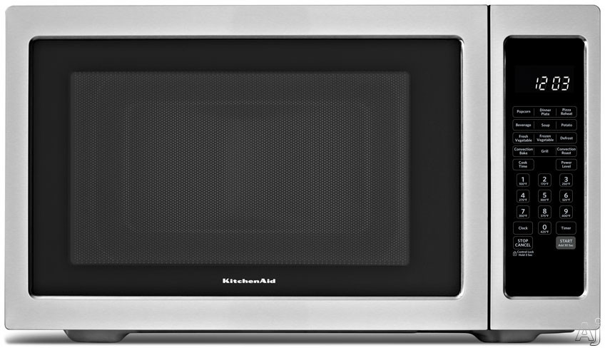 click for Full Info on this KitchenAid KCMC1575BSS 1.5 cu ft Countertop Microwave Oven with 1 500 Watts Convection Element  9 Quick Touch Cycles  Roast Function  Grill Function and Recessed Turntable