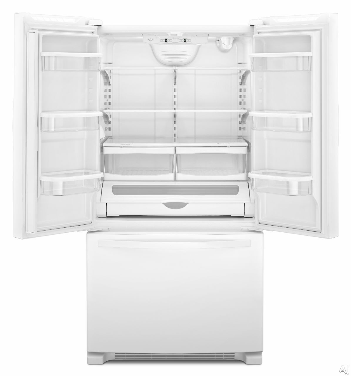 Whirlpool Wrf535swb 24 8 Cu Ft French Door Refrigerator With 4 Frameless Glass Shelves