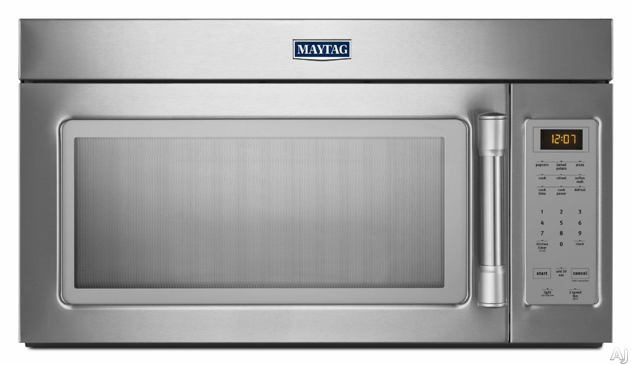 Maytag MMV1174D 1.7 cu. ft. Over-the-Range Microwave Oven with 1000 Watts, 220 CFM Venting System, Quick Touch Settings, Grease Filter, Hidden Vent, 12 Inch Diameter Turntable and Incandescent Cooktop Lighting