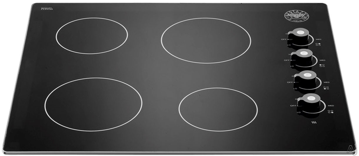 Bertazzoni Professional Series P244CERNE 24 Inch Smoothtop Electric Cooktop with 4 Heating Zones, Residual Heat Indicator Lights, Black Ceramic Top, Push-and-Turn Knobs and Aluminum Trims