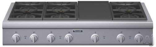 "Thermador Professional Series PCG486GD 48"" Pro-Style Gas Rangetop with 6 Pedestal Star Burners, Griddle or Grill Option, Metal Knobs, Precision Simmering and Island Trim: Griddle"