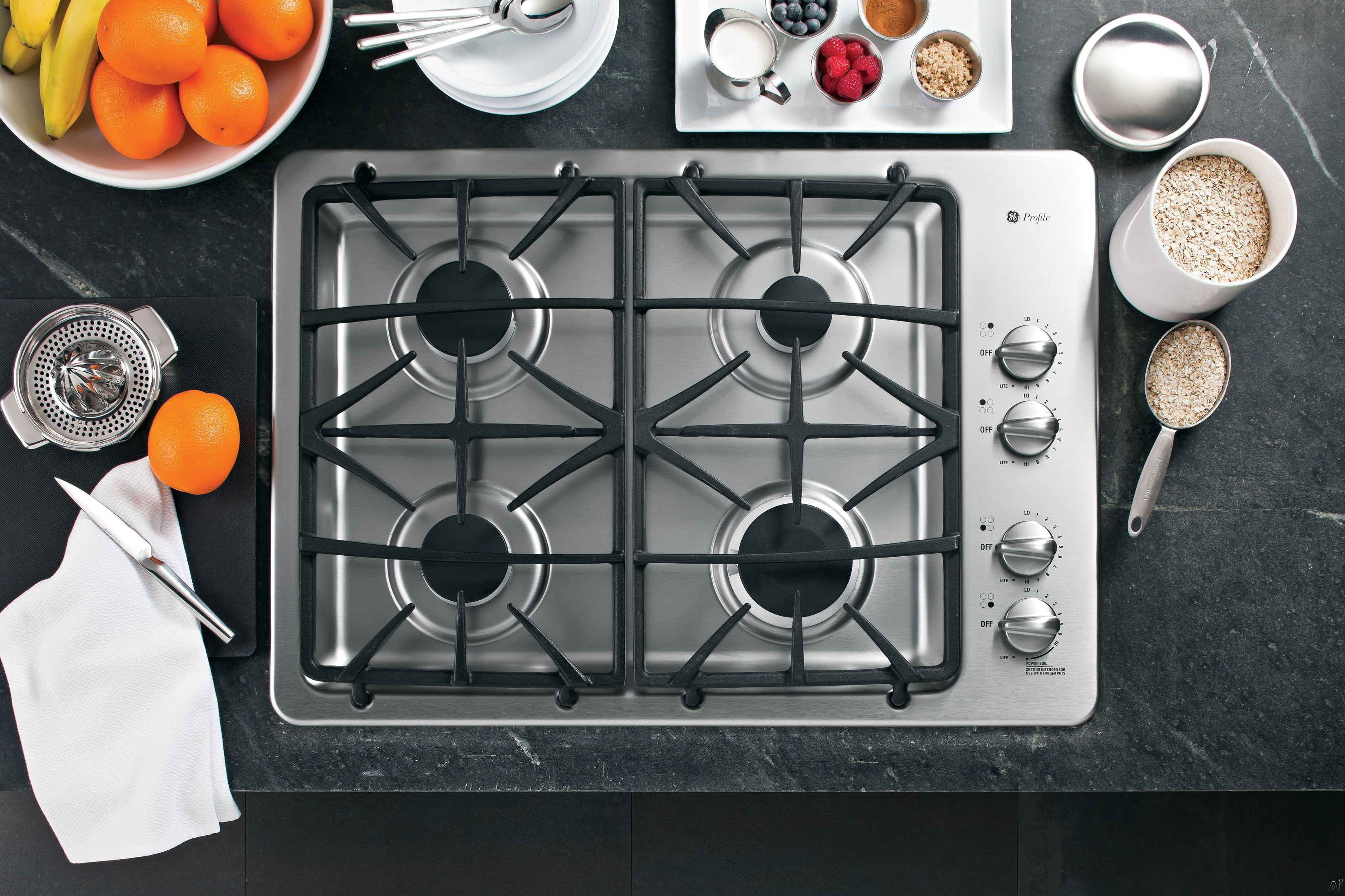 GE Profile PGP943SETSS 30 Inch Gas Cooktop with 4 Sealed Burners, PowerBoil 15,000 BTU Burner, Precise Simmer Burner and Dishwasher-Safe Matte Deluxe-Cast Grates: Stainless Steel
