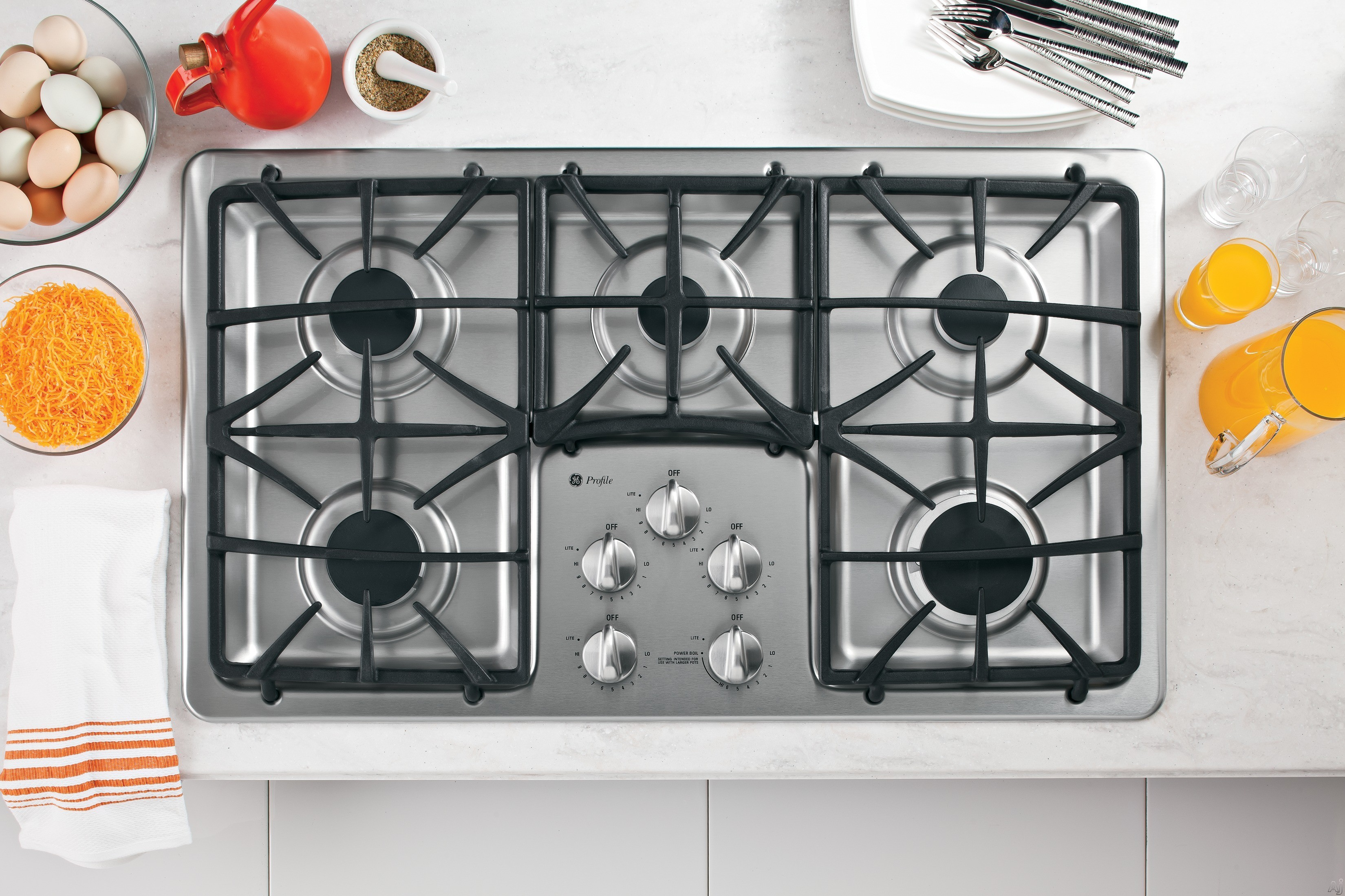 GE Profile PGP966SETSS 36 Inch Gas Cooktop with 5 Sealed Burners, PowerBoil 15,000 BTU Burner, Precise Simmer Burner, Dishwasher-Safe Deluxe Matte-Cast Grates, ADA Compliant and GE Fits! Guarantee: Stainless Steel