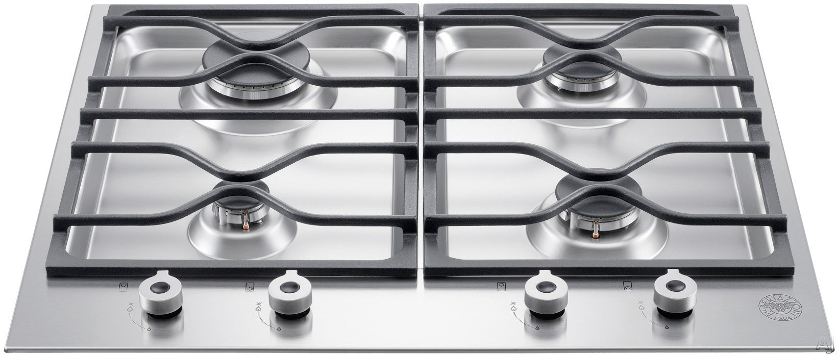Bertazzoni Professional Series PM24400XLP 24 Inch Gas Cooktop with 4 Sealed Aluminum Burners, Cast Iron Continuous Grates, One Hand Ignition and Front-Mounted Solid Metal Knobs: Liquid Propane