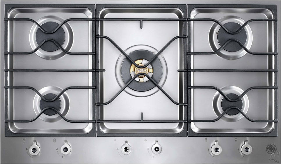 Bertazzoni Design Series PM36500XLP 36 Inch Segmented Gas Cooktop with 5 Sealed Burners, 18,000 BTU Brass Power Burner, Continuous Grates and Electronic Ignition: Liquid Propane