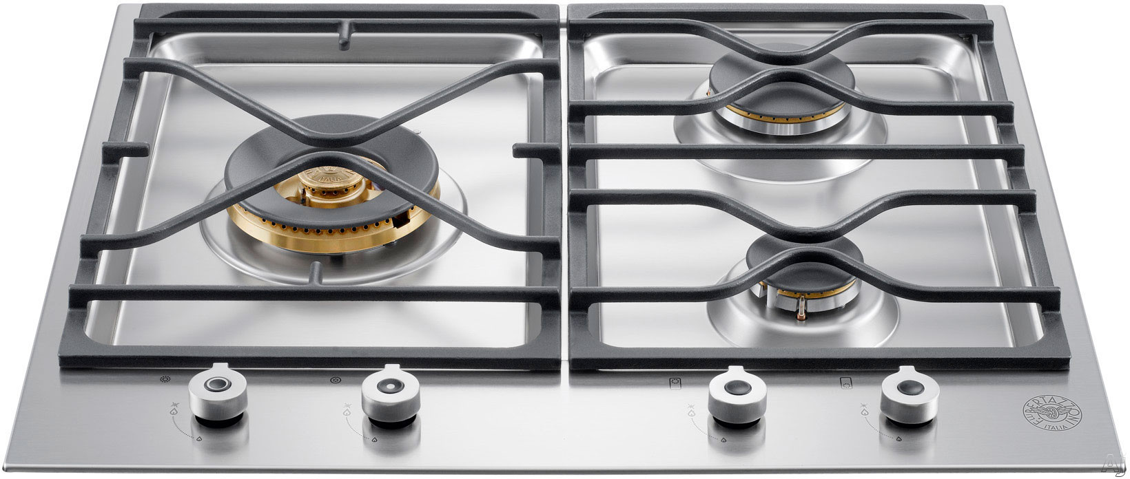 Bertazzoni Professional Series PMB24300X 24 Inch Gas Cooktop with 3 Sealed Brass Burners, 18,000 BTU Power Burner, Cast Iron Continuous Grates, One Hand Ignition and Front-Mounted Solid Metal Knobs: Natural Gas