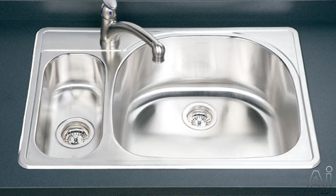 Houzer Premiere Designer Topmount Double Bowl 80/20 Kitchen Sink with Small Left Bowl in Satin